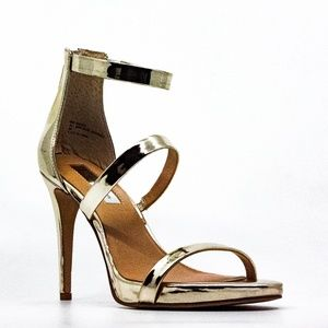 INC Sadiee Gold Metallic Strappy Heel Sandal